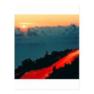 Flöde för vulkanReunion Island Lava 1975 Vykort