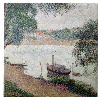 Floden landskap med ett fartyg kakelplatta