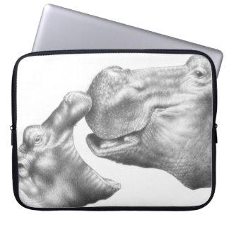 Flodhäst- och babyelektronik hänger lös laptop fodral