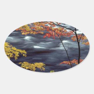 Flodhösten färgar att rusa för A Ovalt Klistermärke