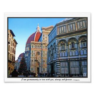 Florence Duomodomkyrka med kärlekcitationstecken Fototryck