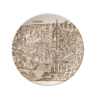 Florence medeltida träsnitt porslinstallrik