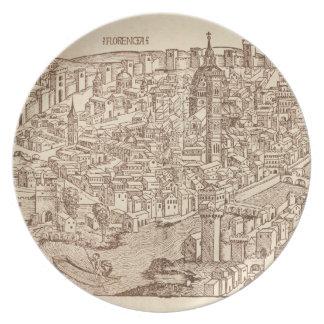 Florence medeltida träsnitt tallrik