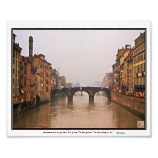 Florence överbryggar med kärlekcitationstecken fototryck