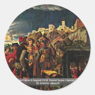 Florian platser följer en legend av St. Florian Runda Klistermärken