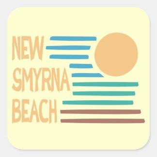 Florida för ny Smyrna strand geometrisk design Fyrkantigt Klistermärke