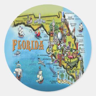 Florida tecknadkarta runt klistermärke