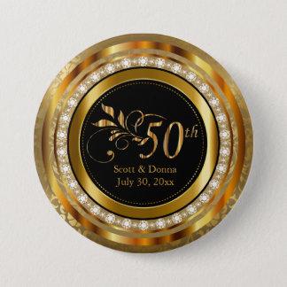 Flott 50th guld- diamantbröllopårsdag mellanstor knapp rund 7.6 cm