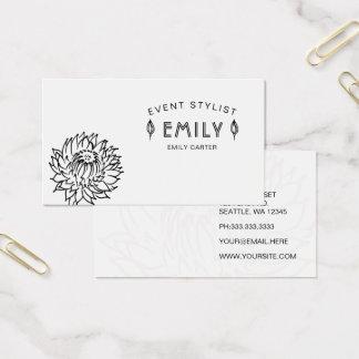 Flott chic svartvit blommigt visitkort