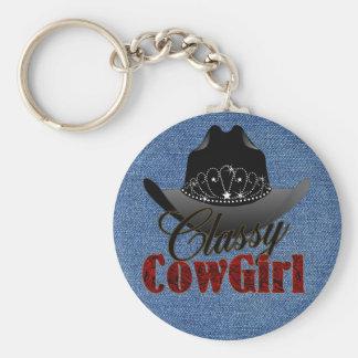 Flott CowgirlRodeodrottning (MRK-Reviderade) Keych Rund Nyckelring