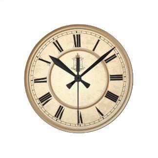 Flott den dekorativa vintagefågelburen tar tid på rund klocka
