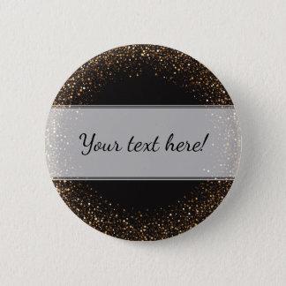 Flott eleganta guld- konfettiar på svart med namn standard knapp rund 5.7 cm