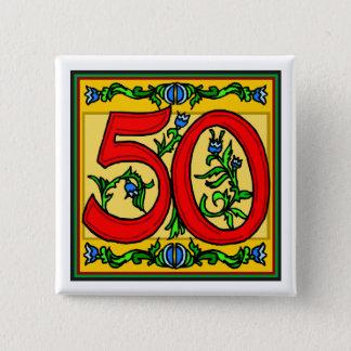 Flott femtio 50th födelsedaggåvor standard kanpp fyrkantig 5.1 cm