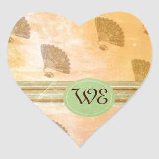 Flott fläktmonogram för vintage hjärtformat klistermärke