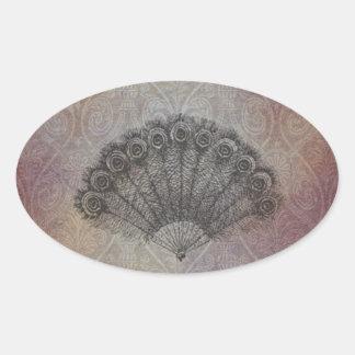Flott fläktmonogram för vintage ovalt klistermärke