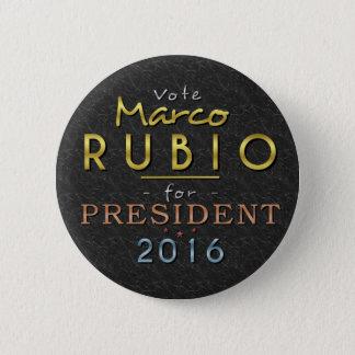 Flott för guld för Marco Rubio president 2016 Standard Knapp Rund 5.7 Cm