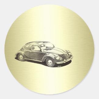 Flott gammalt bilguld runt klistermärke