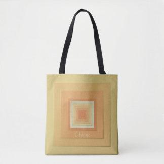 Flott geometriskt kvadrerar (mjukt gula & orangen) tygkasse