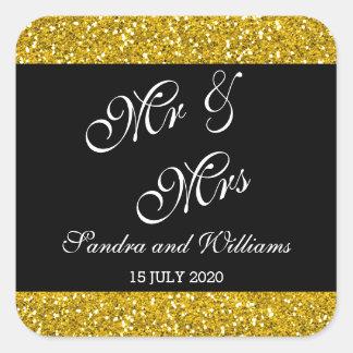 Flott guld- glitter och svart Herr & Fru gifta sig Fyrkantigt Klistermärke