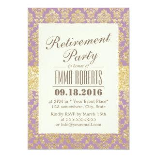Flott guld & violett damastast pension 12,7 x 17,8 cm inbjudningskort