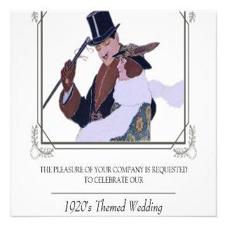 Flott inbjudan för 20-taltemabröllop