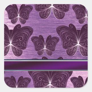 flott purpurfärgat silvrigt fjärilsmönster fyrkantigt klistermärke