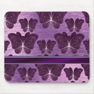 flott purpurfärgat silvrigt fjärilsmönster musmatta
