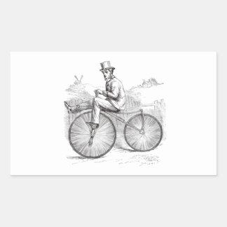Flott retro gammal cykel rektangulärt klistermärke