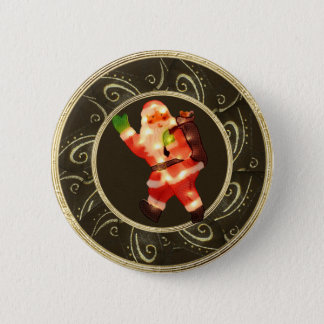Flott Santa med ljusbrunt & guld knäppas Standard Knapp Rund 5.7 Cm