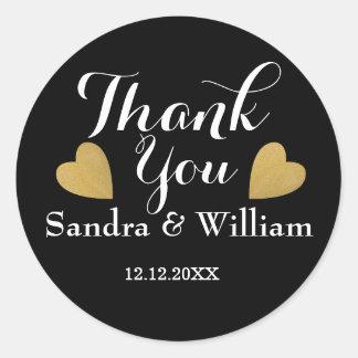 Flott svart och guld- hjärtor som gifta sig tack runt klistermärke