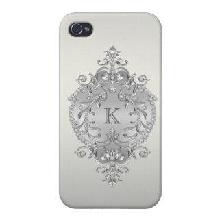 Flott utsmyckad diamantMonogram iPhone 4 Fodraler