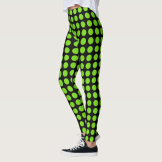 Flourescent gröna Polkadots Leggings
