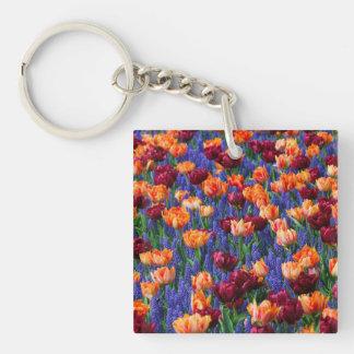 [FLOW-003] Blommafält Fyrkantigt Dubbelsidigt Nyckelring I Akryl