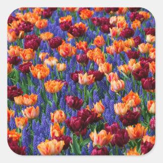 [FLOW-003] Blommafält Fyrkantigt Klistermärke