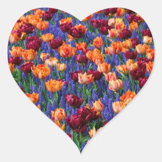 [FLOW-003] Blommafält Hjärtformat Klistermärke