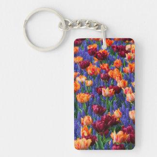 [FLOW-003] Blommafält Rektangulärt Enkelsidig Nyckelring I Akryl