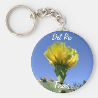 Flower. för kaktus för Del Rio Texas souvenir gul Rund Nyckelring