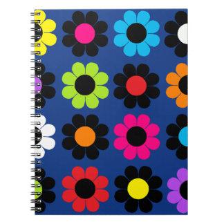 Flower power anteckningsbok med spiral