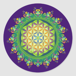 Flower power av liv-/Blume des Lebens Runt Klistermärke