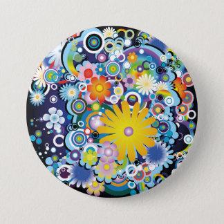Flower power knäppas mellanstor knapp rund 7.6 cm