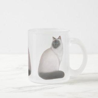 Fluffig Himalayan kattmugg Frostad Glasmugg