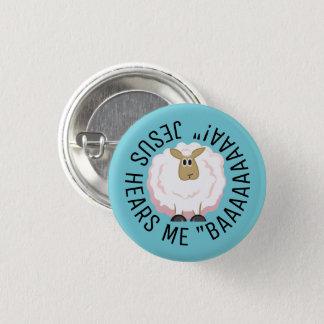 Fluffig vitfårtecknad mini knapp rund 3.2 cm