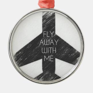 Fluga bort med mig julgransprydnad metall