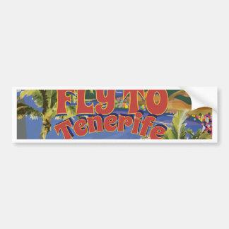 Fluga till den Tenerife vintage resoraffischen Bildekal