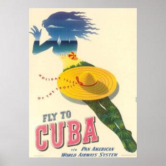 Fluga till KubahelgdagIsles av tropikernavintage Poster