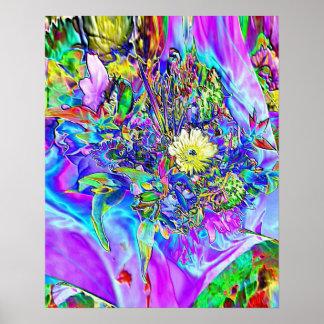 Fluorescerande blått, lavendel & blom- affisch för