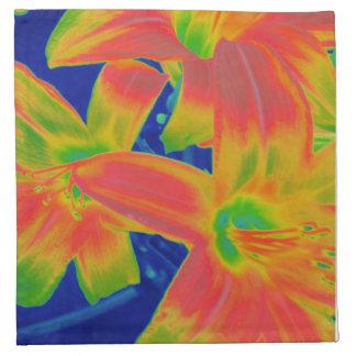 fluorescerande blommor tygservett