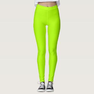 Fluorescerande grön fast färg skräddarsy det leggings