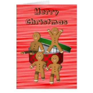 Flyende rolig julkort för pepparkaksgubbar hälsningskort