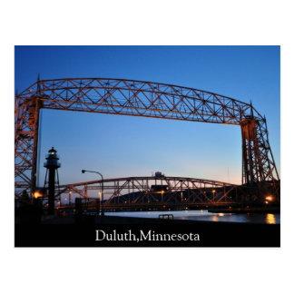 Flyg- hiss överbryggar Duluth Minnesota Vykort
